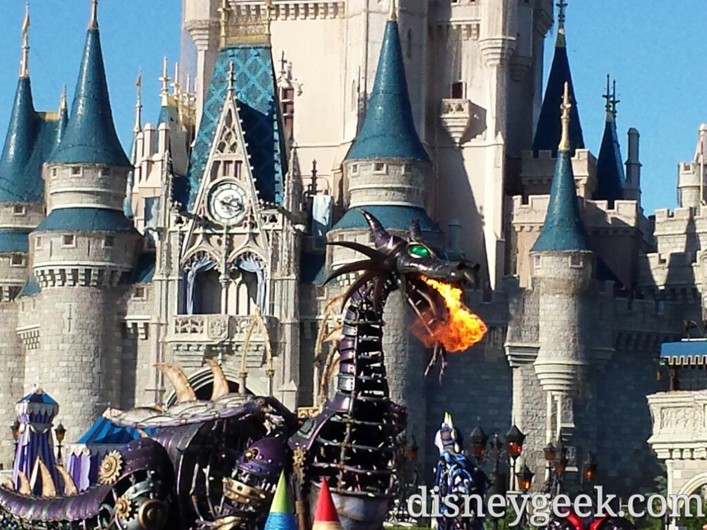 Maleficent in the Festival of Fantasy Parade passing through the hub at the Magic Kingdom