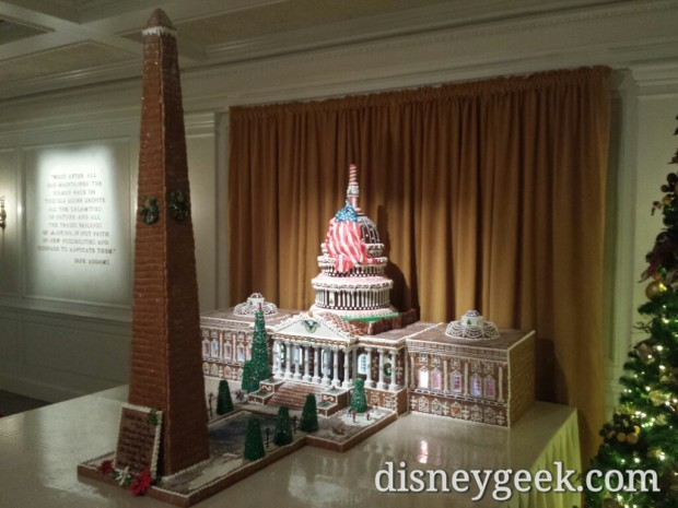 The US Capitol and Washington Monument gingerbread in the American Adventure