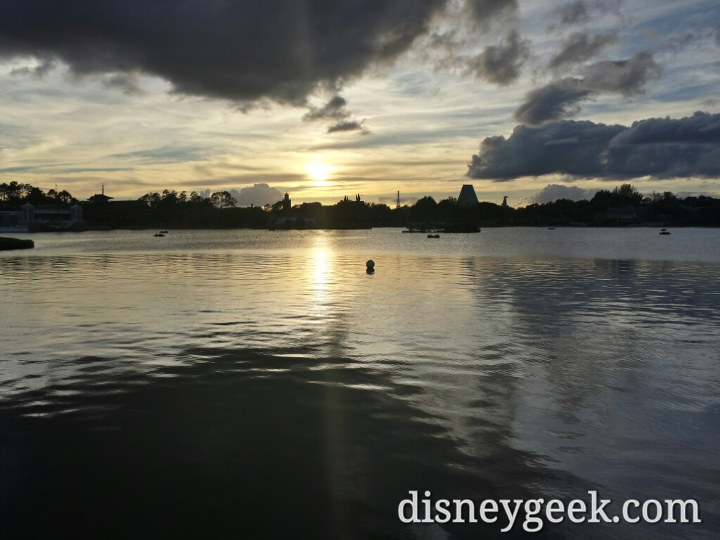 World Showcase lagoon as the sun is setting #Epcot