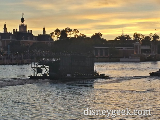 Illuminations barges heading out for tonight's show