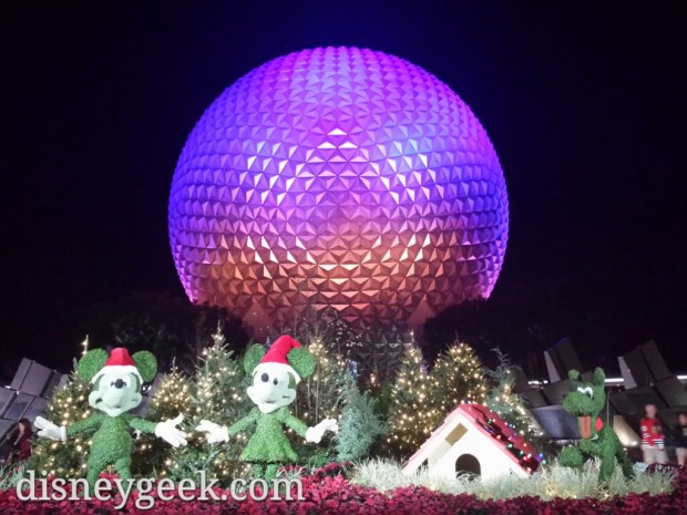 Topiaries & Spaceship Earth from the front of the park