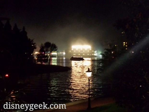 The Boardwalk Resort was obscured by Illuminations smoke