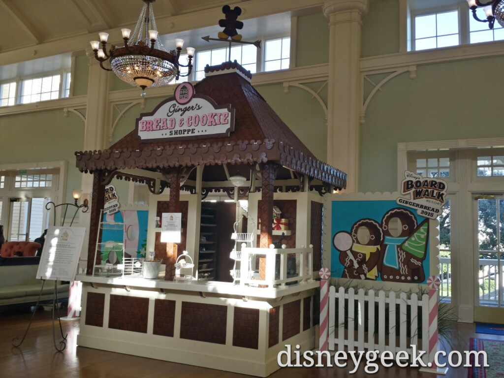 A gingerbread shop in the Boardwalk lobby #DisneyHolidays