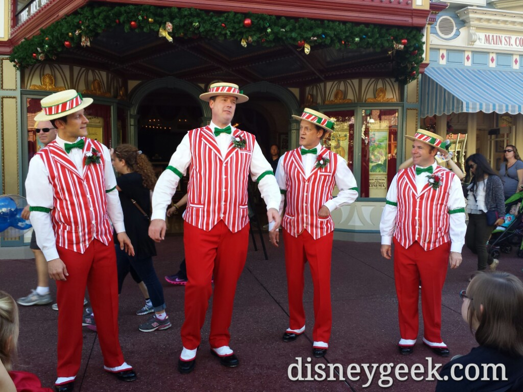 The Dapper Dans performing on Main Street USA in the Magic Kingdom