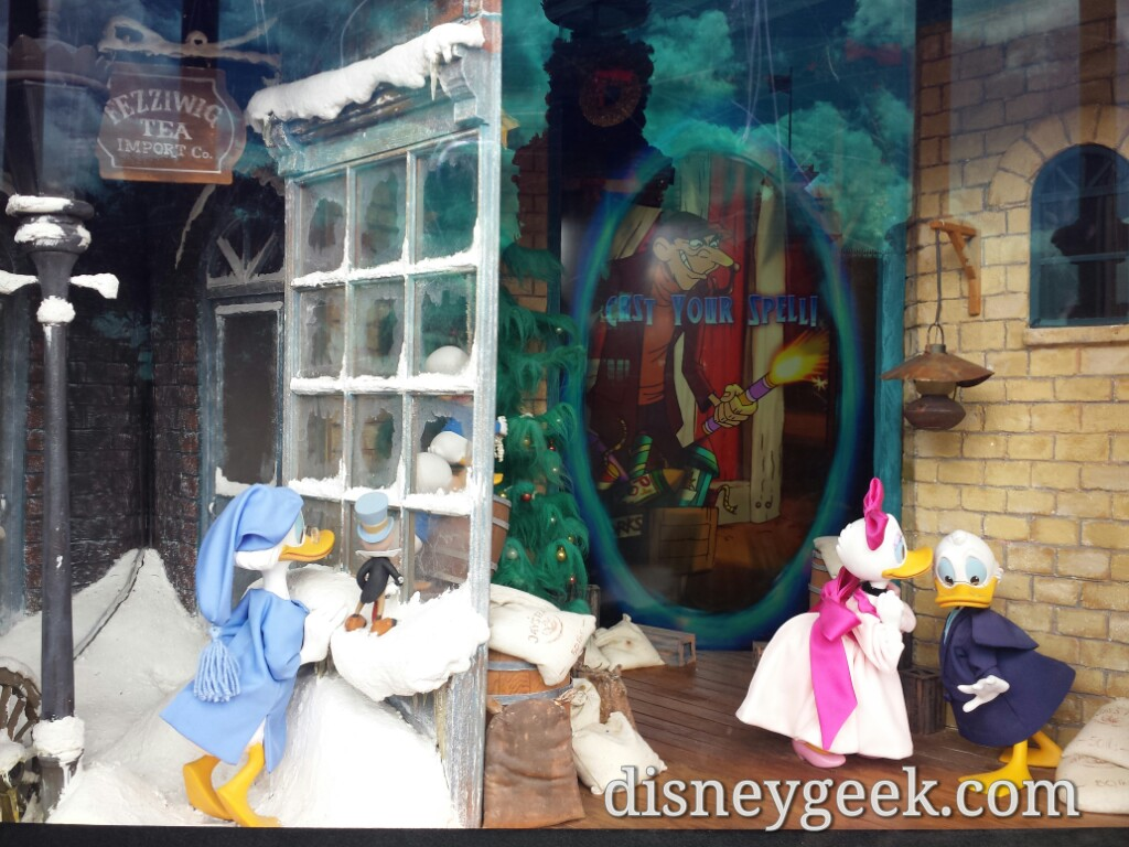 At the Emporiun the Sorcerers portal is integrated with Mickey's #Christmas Carol window #WDW
