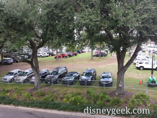 Epcot had cars parked on the grass today.