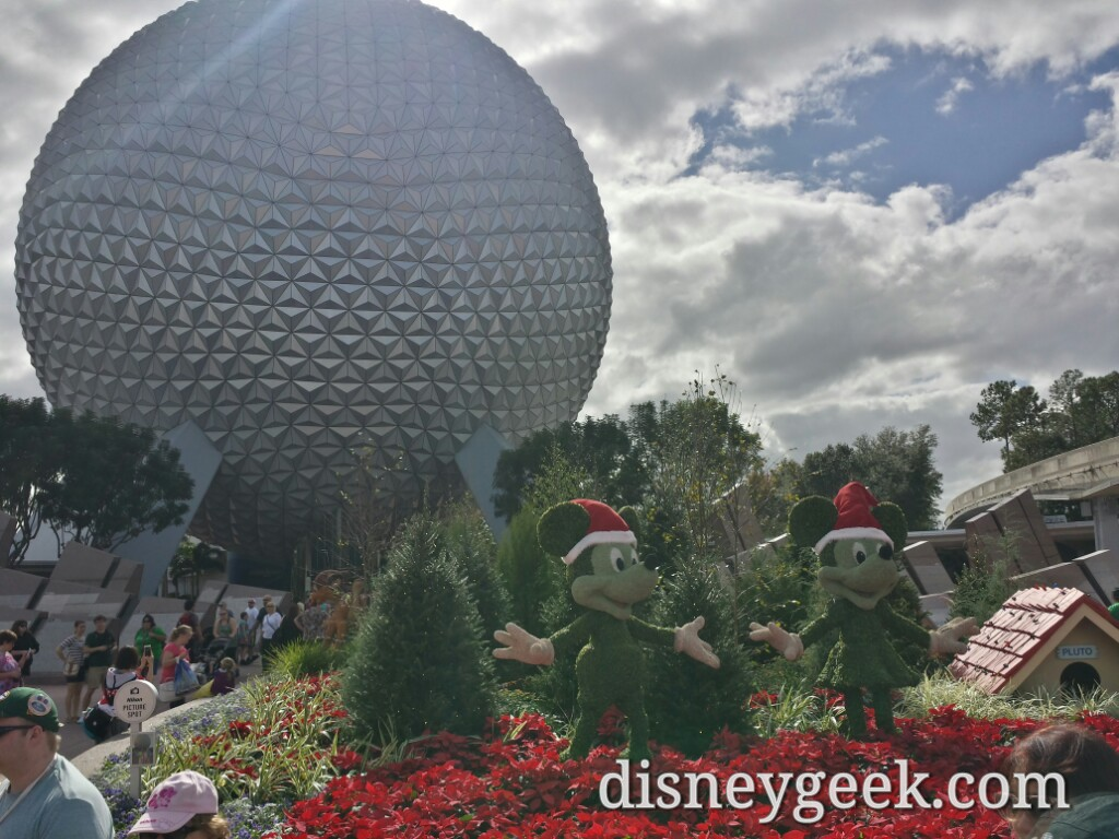 Mickey and Minnie Topiaries at the entrance to Epcot