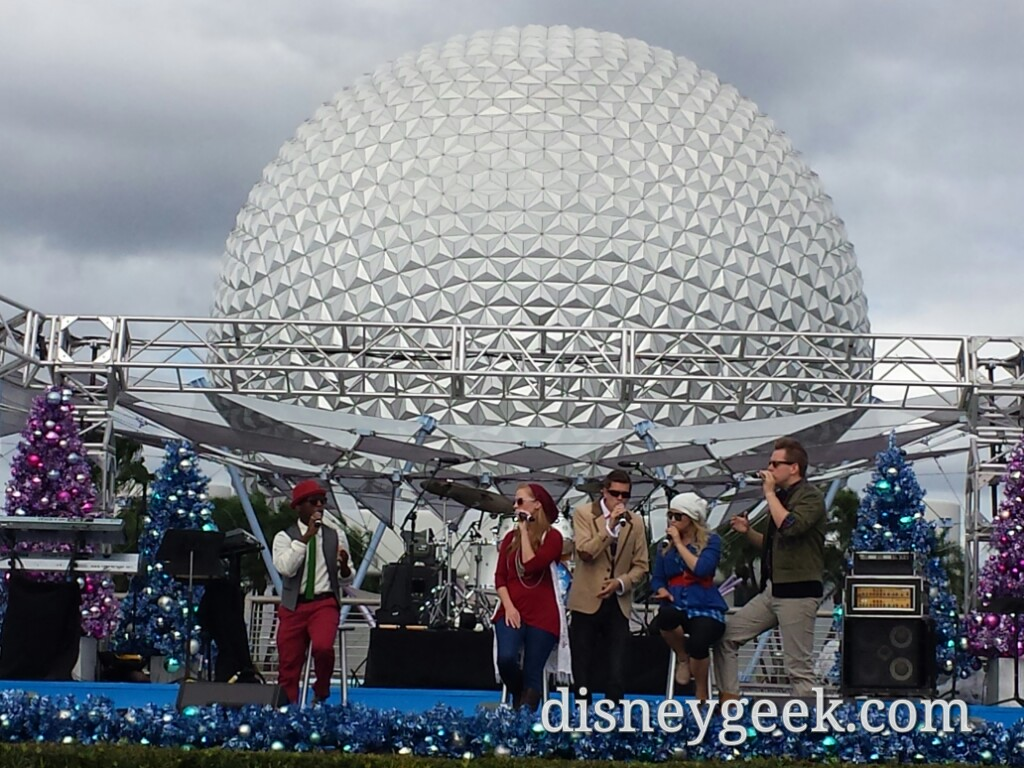 American Music Machine performs #Christmas sets at the Fountain Stage #Epcot