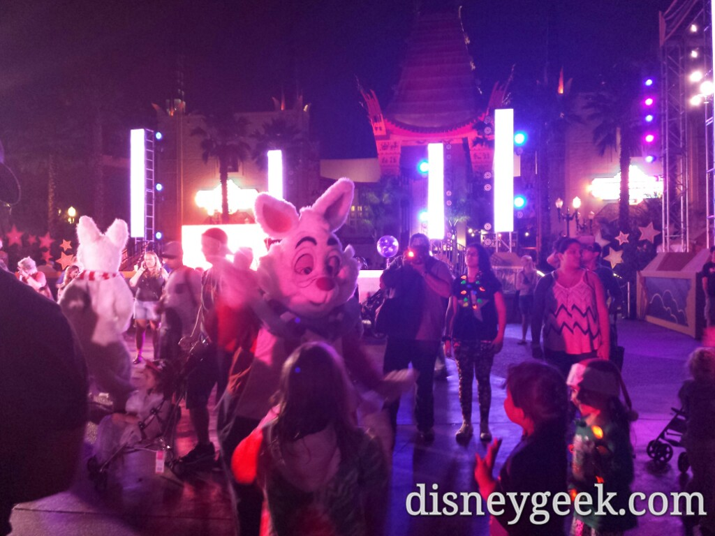 The White Rabbit at the Holiday dance party in Disney's Hollywood Studios