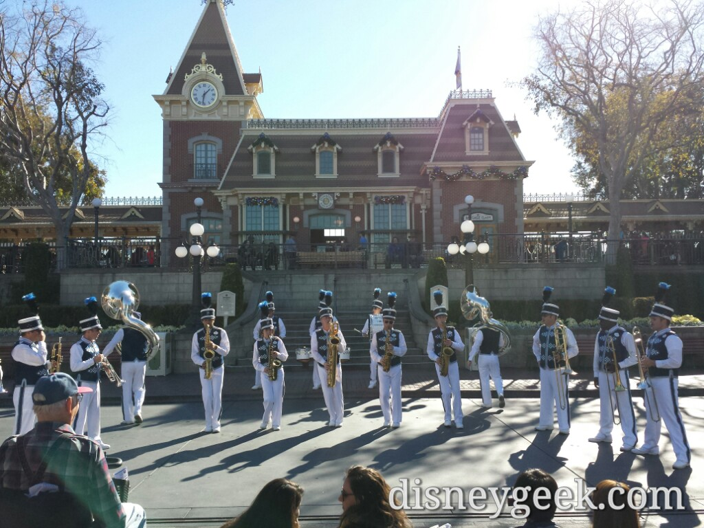 The #Disneyland Band in front of the Main Street Train Station as I entered the park