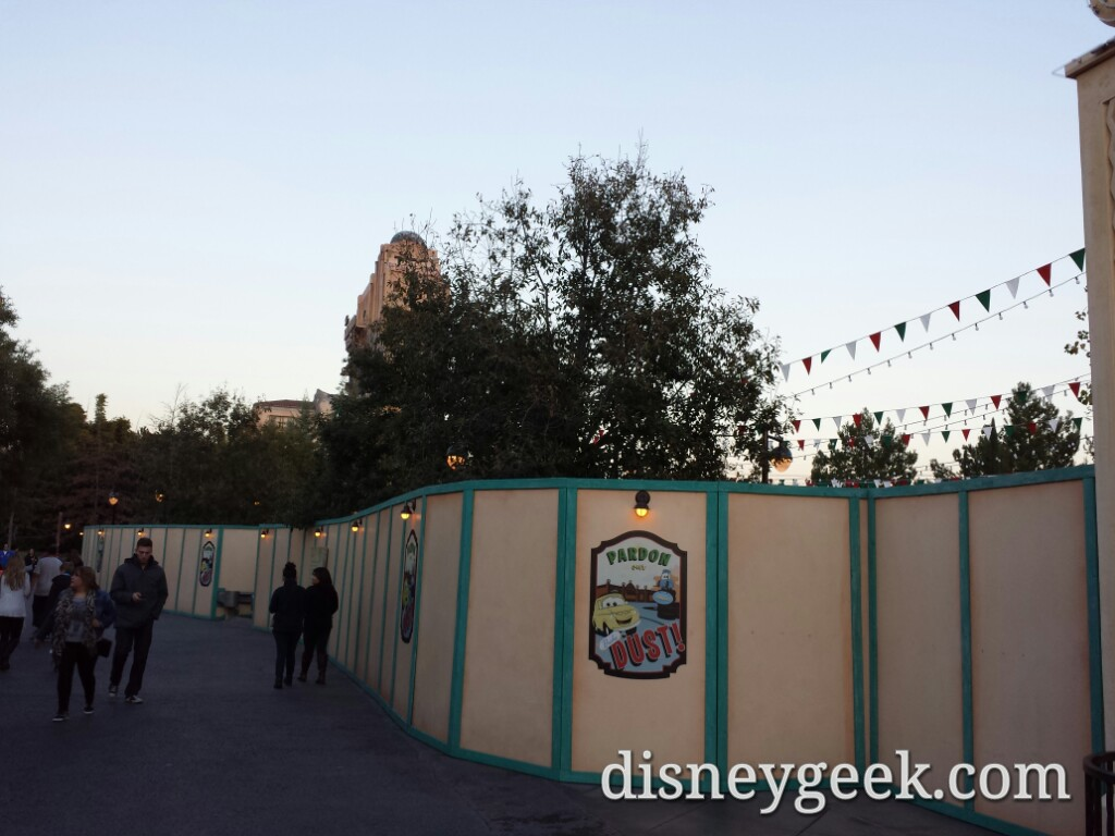 No visible progress at Luigis but you could hear what sounded like testing going on #CarsLand