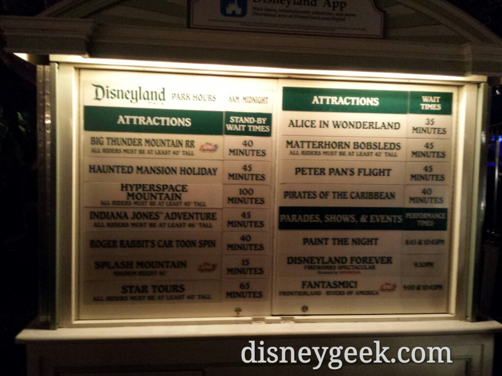#Disneyland waits as of 7:08pm