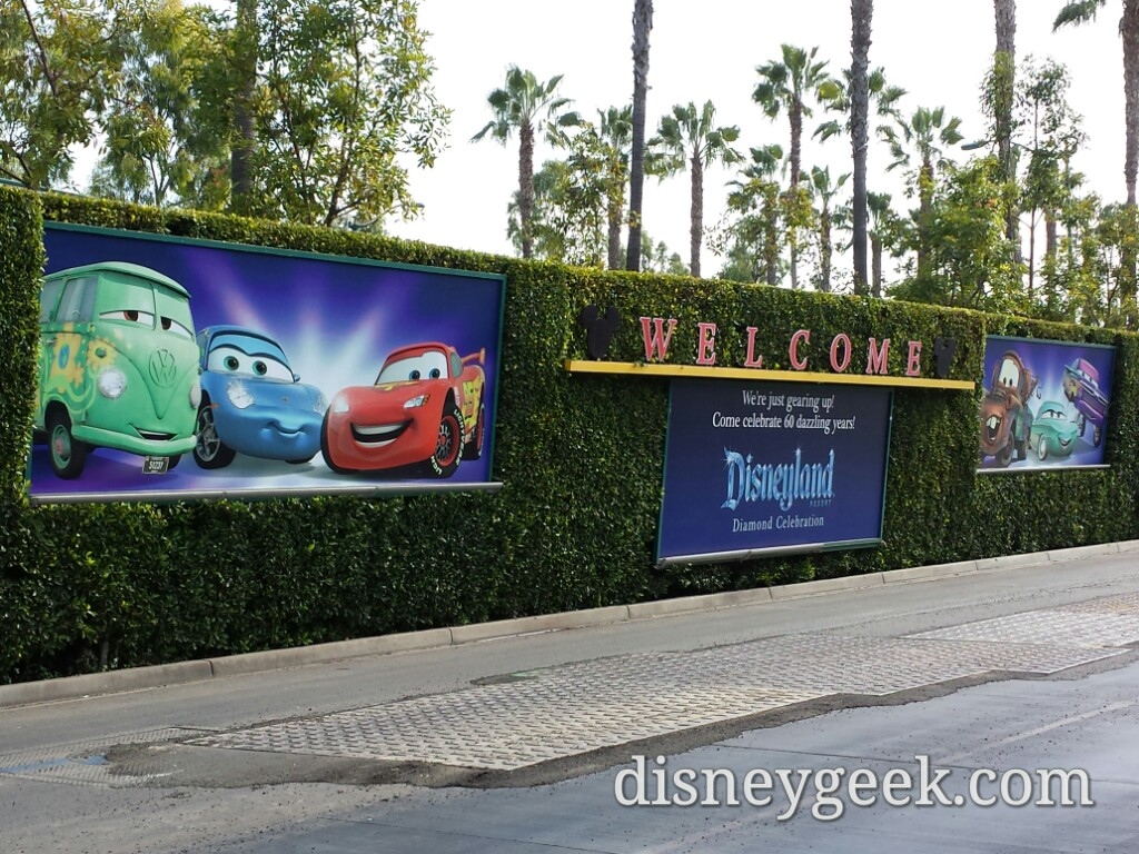 Mickey & Friends tram stop billboards feature #Cars also note some work going on to the tramway