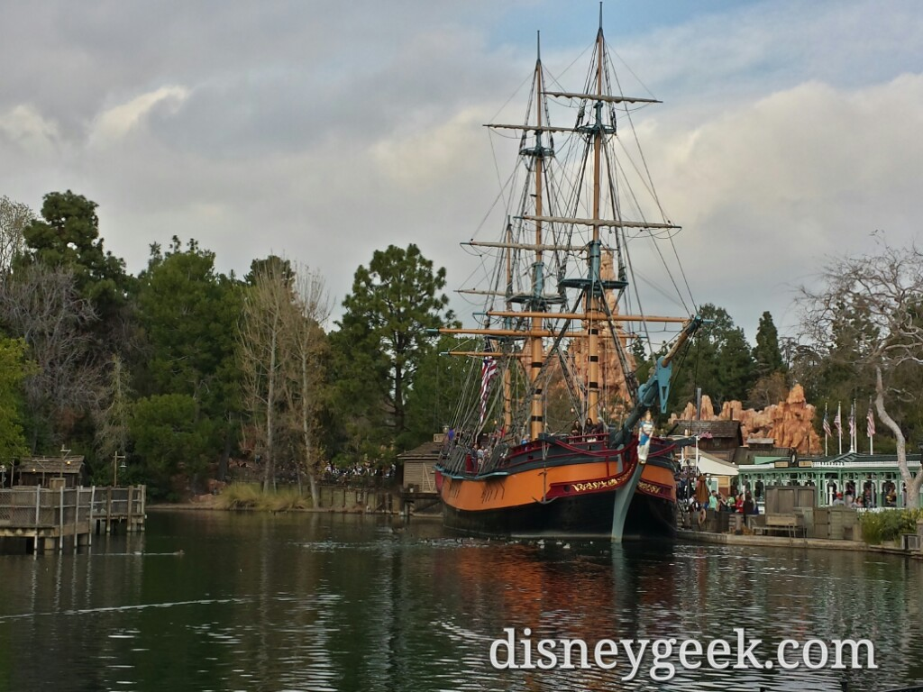 No noticeable change at the Rivers of America the Columbia is open to walk around #Disneyland