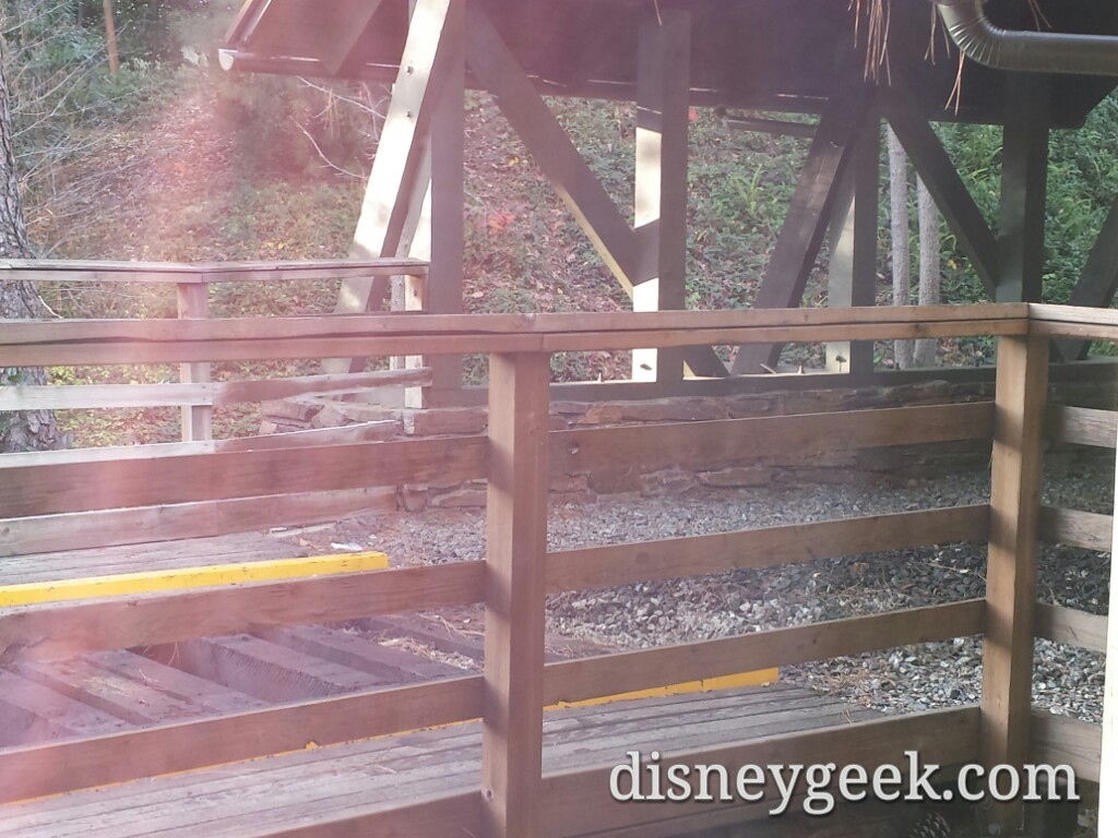 1st signs of work.  The rail has been removed from Critter Country trestle into the wilderness