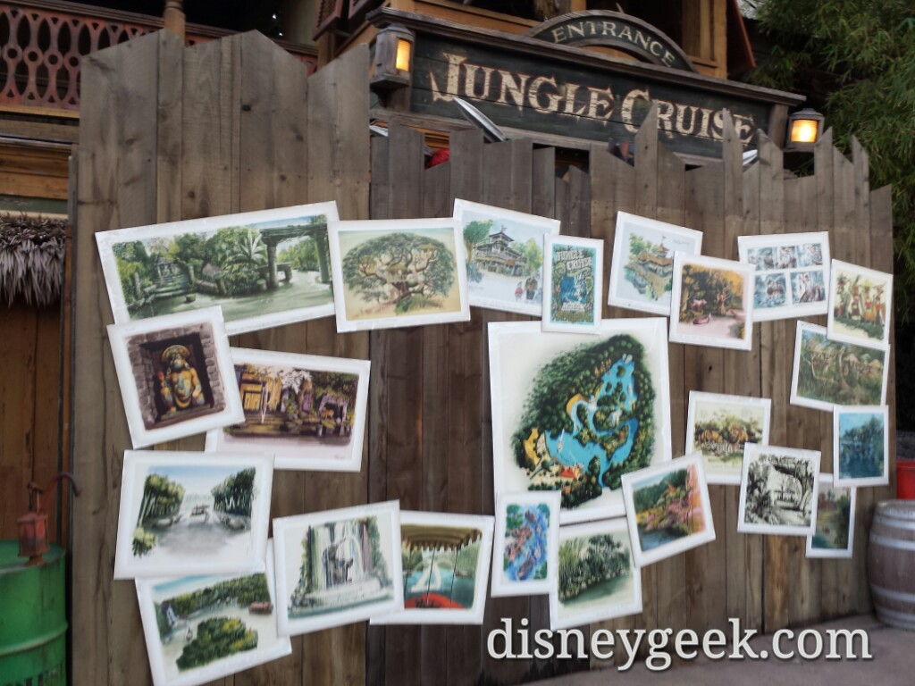 Jungle Cruise is closed.  The wall features concept art and a poster #Disneyland