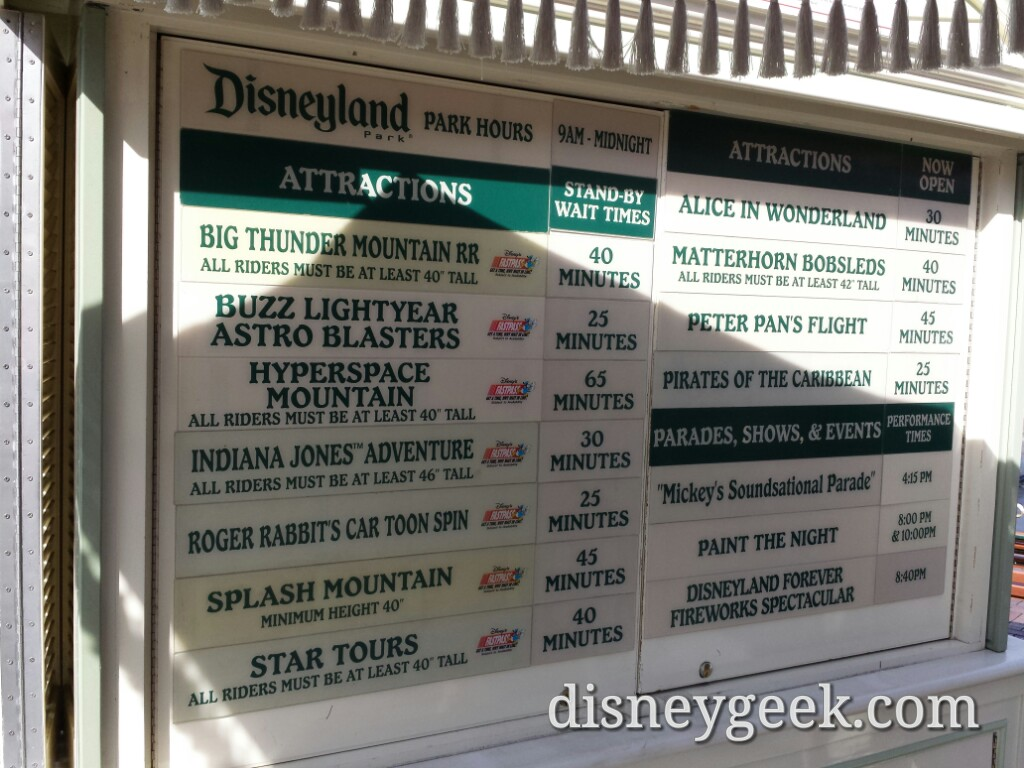 #Disneyland waits as of 1:14pm