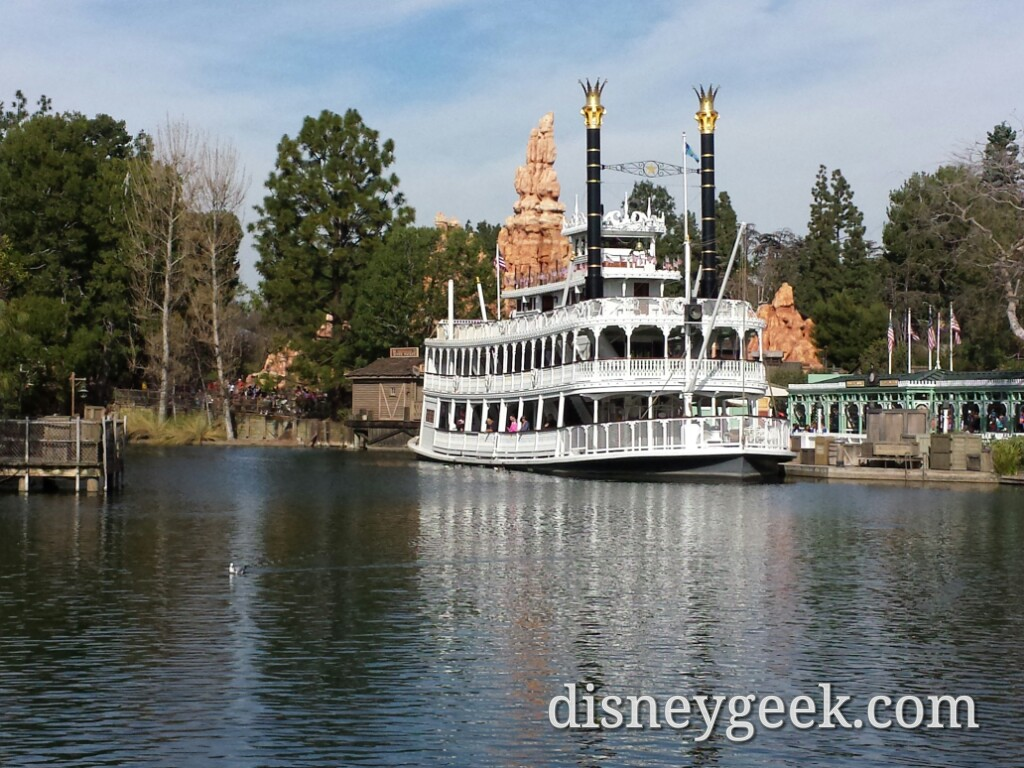Rivers of America, no real visible changes from here except Mark Twain & Columbia swapped since last visit