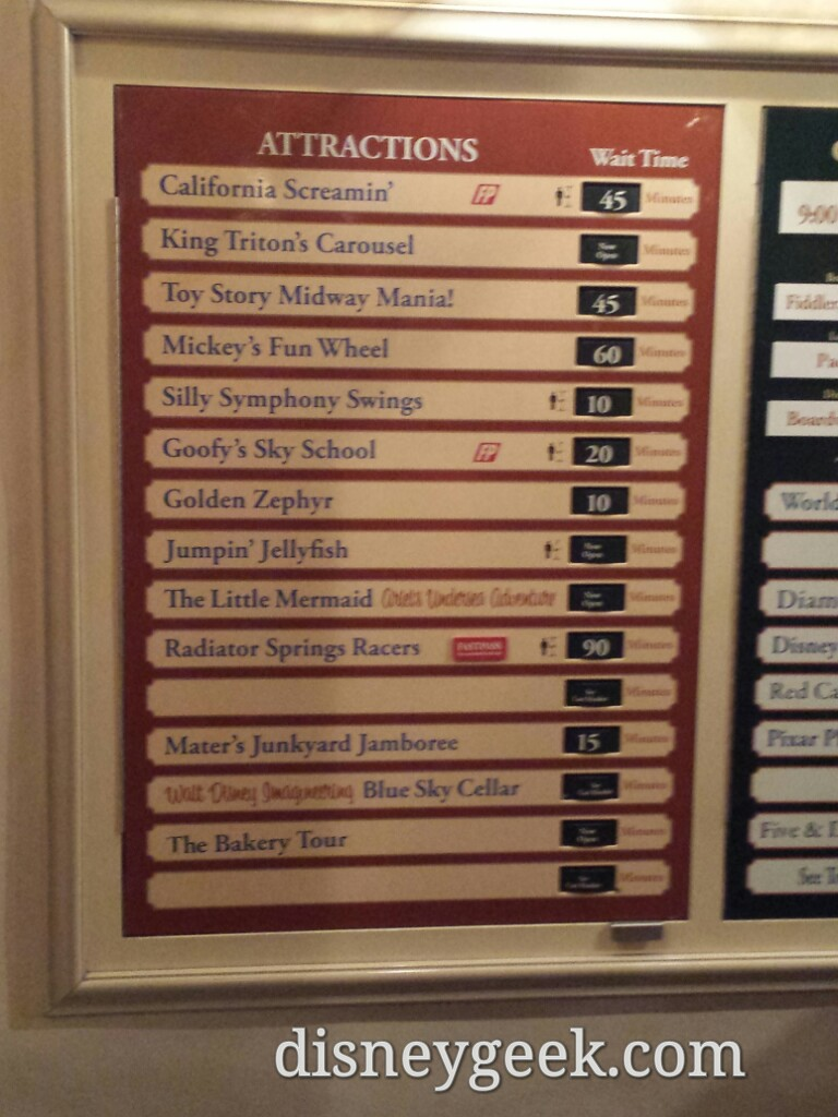 Some Disney California Adventure waits as of 6:30pm