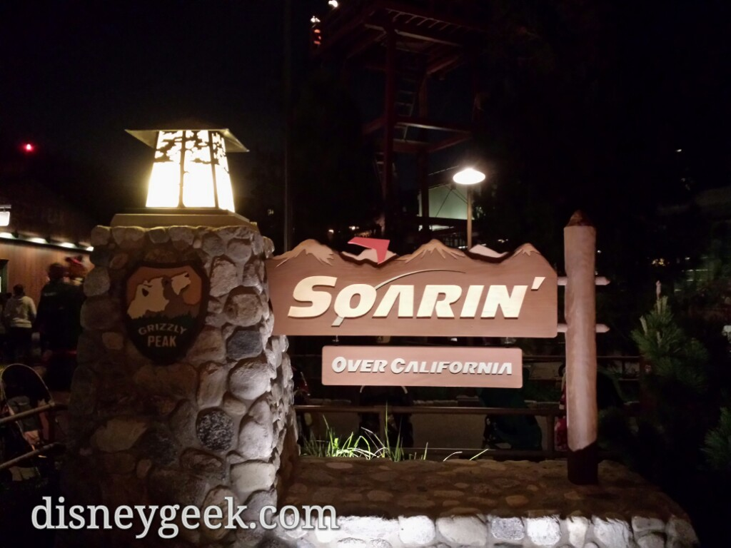 To break the trend of the day.. Soarin is open with a posted 65 min wait