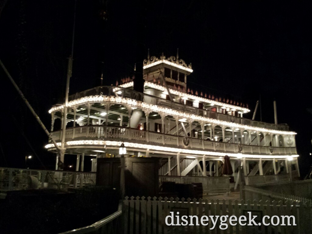 No night visits to the Mark Twain, it closes around sunset #Disneyland