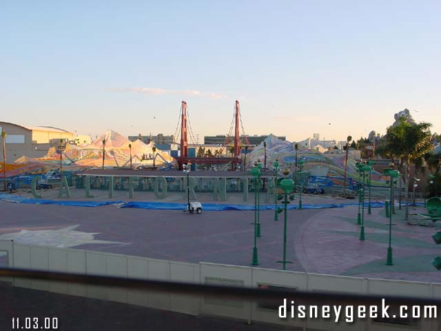 The view from the Monorail of the Esplanade and DCA entrance in November 2000, three months before opening.