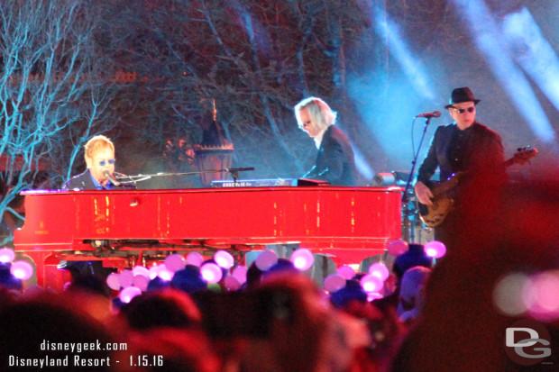 Elton John performing at Disneyland