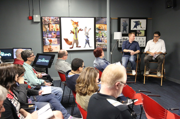 Writer and Co-Director Jared Bush and Writer Phil Johnston present at the Zootopia Long Lead Press Days on October 27, 2015 at the Walt Disney Studios Tujunga Campus. (Photo by Alex Kang. ©2015 Disney. All Rights Reserved.)