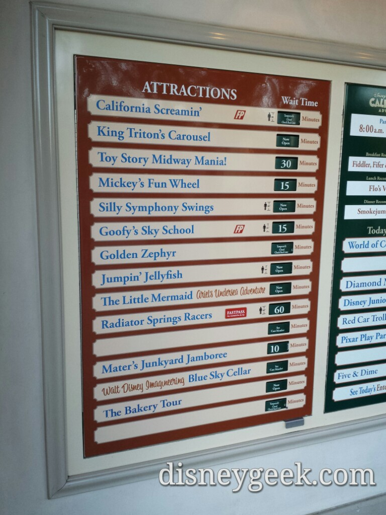 Disney California Adventure waits as of 4:34pm