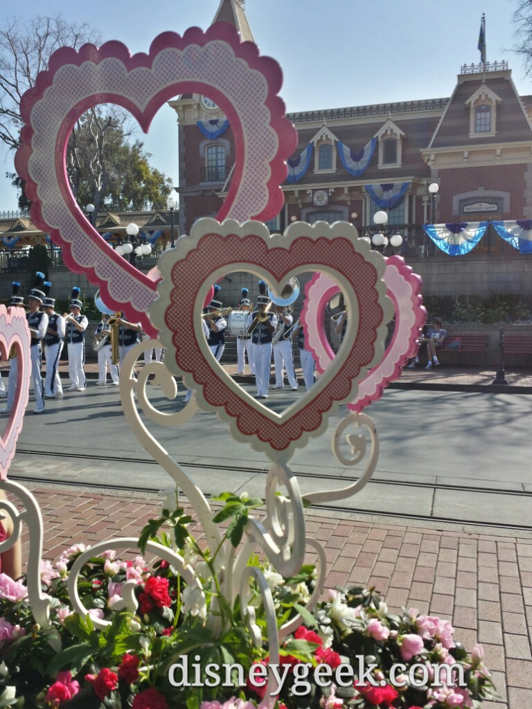 #Valentine's Day decorations in Town Square #Disneyland