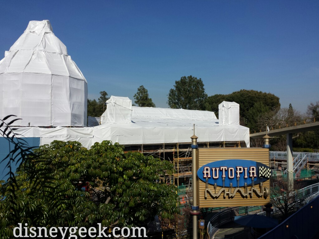 Autopia work continues the queue is covered #Disneyland