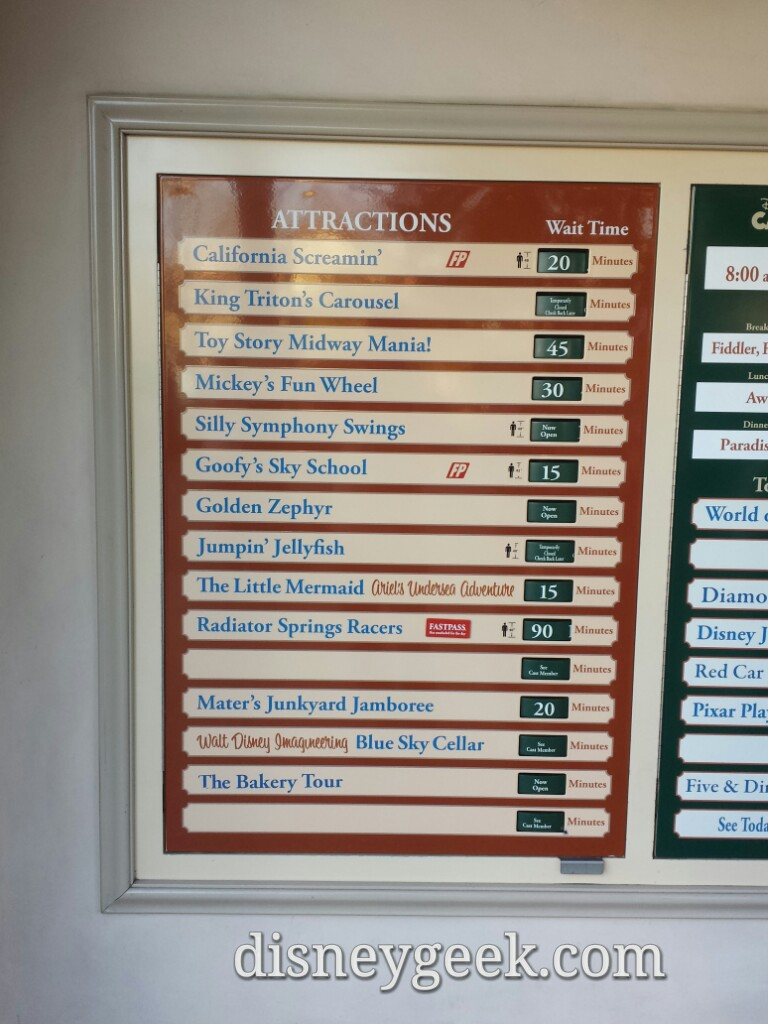 Some Disney California Adventure waits as of 3:23pm