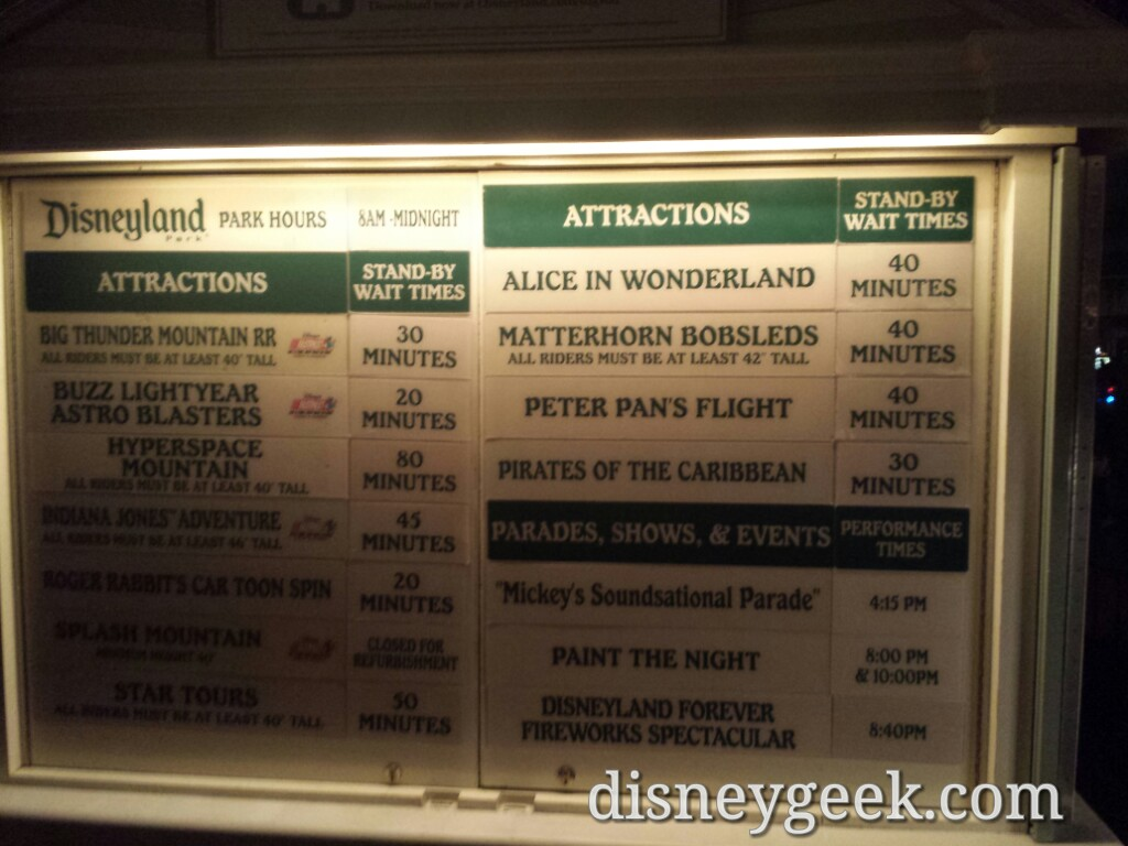 A check of the #Disneyland waits as of 6:59pm