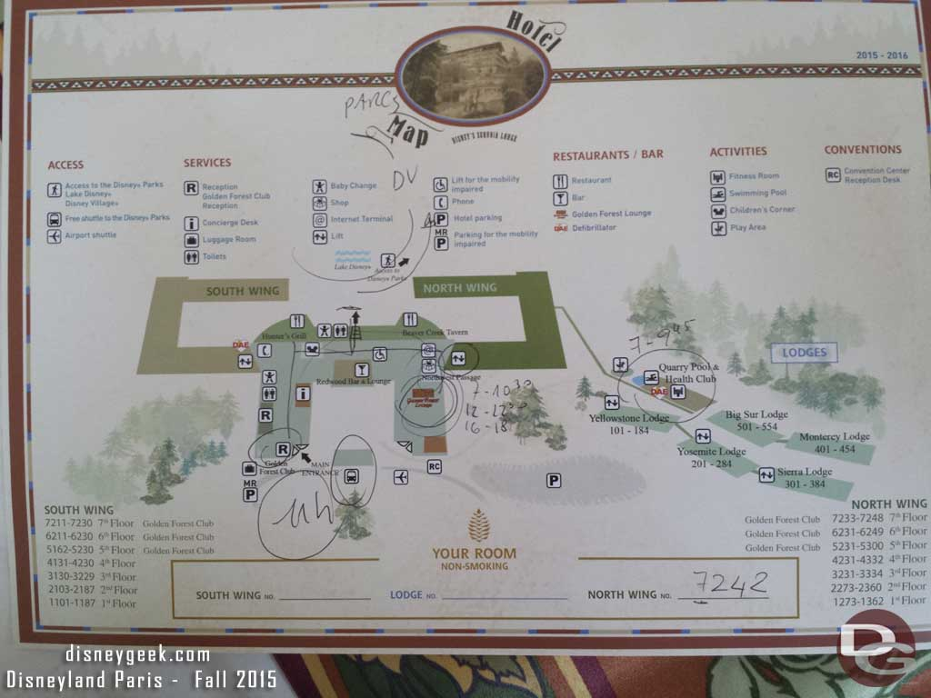 A map of Disney's Sequoia Lodge