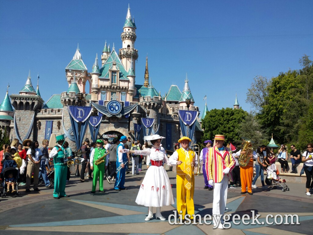 #MaryPoppins Bert & Pearly Band in front of Sleeping Beauty Castle #Disneyland
