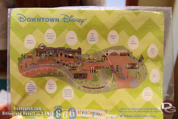 2016 Egg-Stravaganza @ Disneyland Resort - Downtown Disney Map