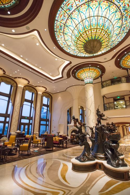 The rich details of the lobby of the Shanghai Disneyland Hotel highlight the grandeur of this Art Nouveau hotel.