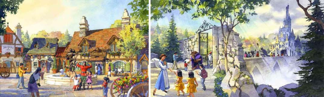 (L)Village in Beauty and the Beast Area (tentative name) (R) Exterior of Major Attraction Concept image