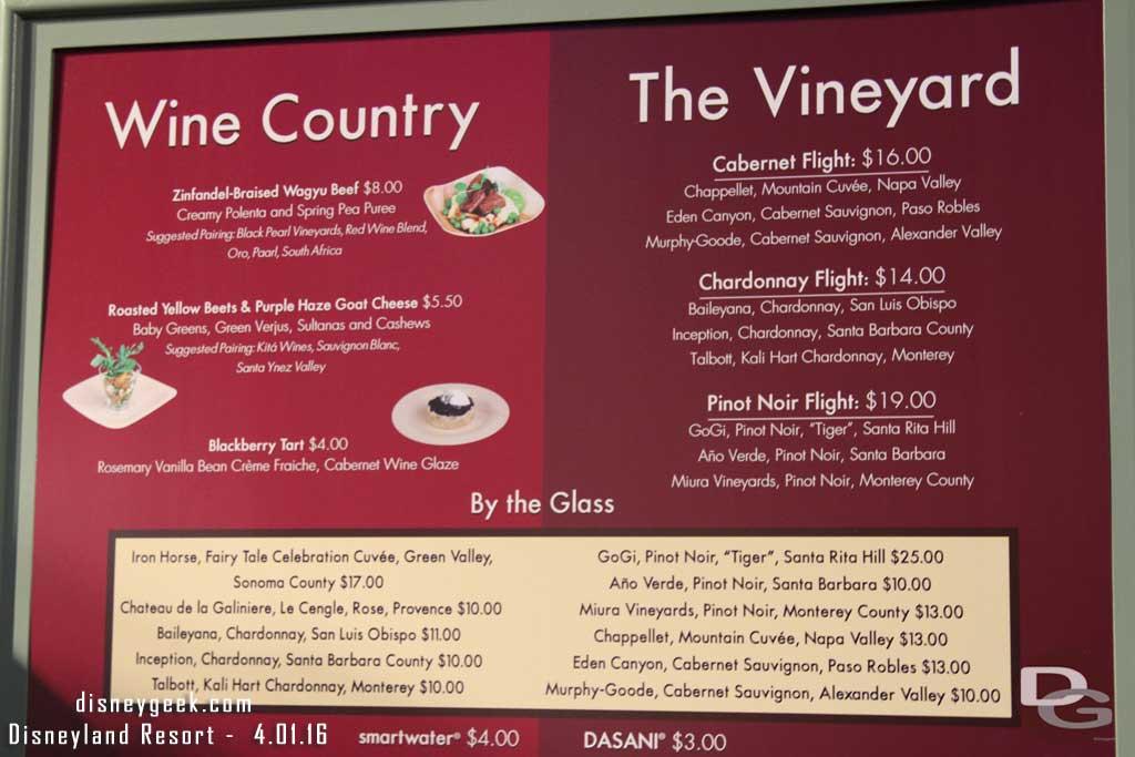 Disney California Adventure Food & Wine Festival Market Place Menu