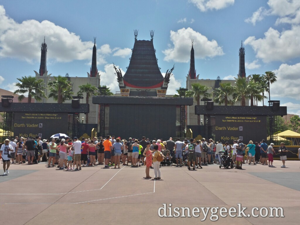 The Center Stage is set up throughout the day at Disney's Hollywood Studios.  The screens are lowered at night.  I wish they were lowered between shows too.