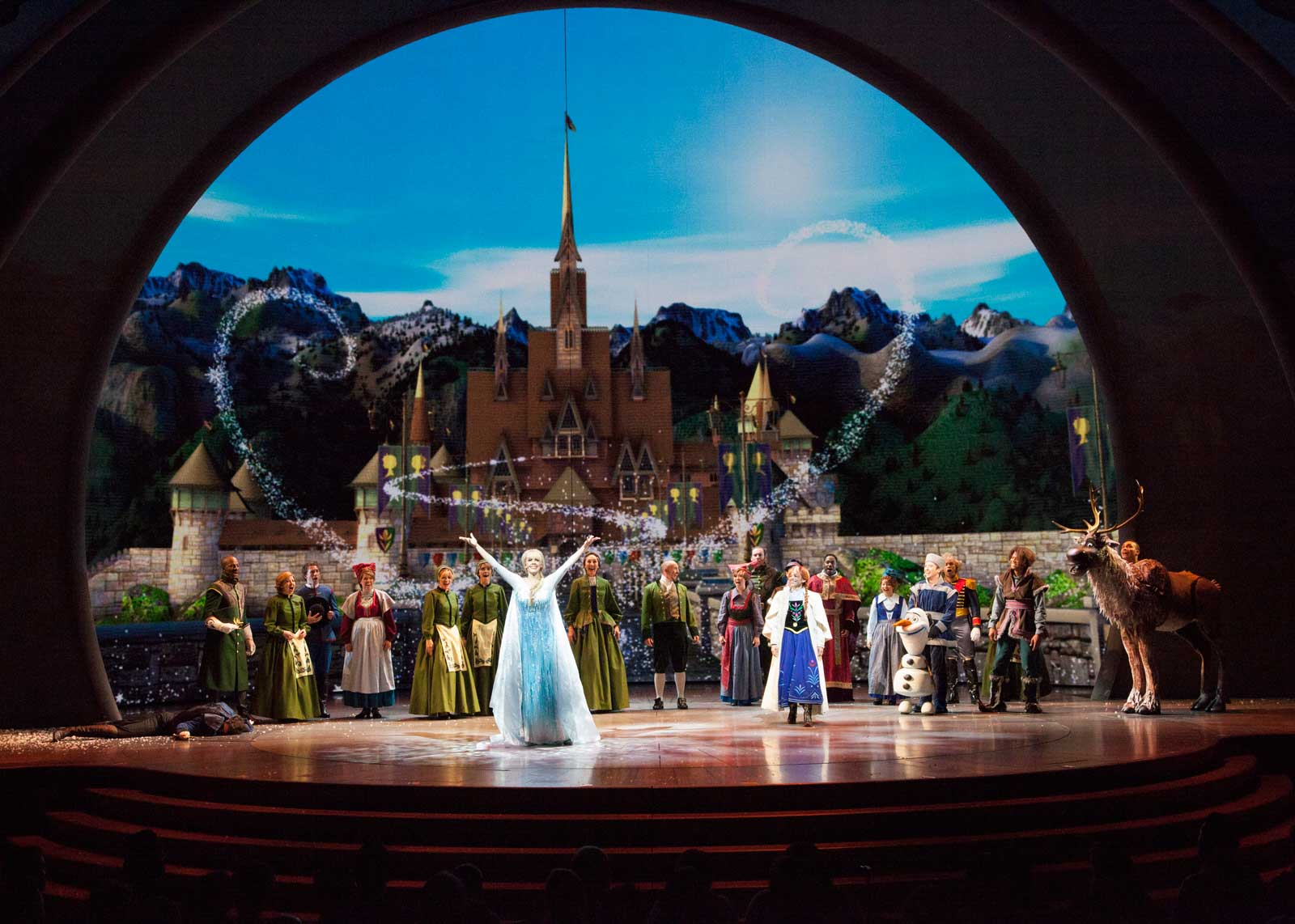 'FROZEN - LIVE AT THE HYPERION' -- A new theatrical interpretation for the stage based on Disney's animated blockbuster film, Frozen is now playing at the Hyperion Theater at Disney California Adventure Park. The show immerses audiences in the emotional journey of Anna and Elsa with all of the excitement of live theater, including elaborate costumes and sets, stunning special effects and show-stopping production numbers. (Scott Brinegar/Disneyland Resort)