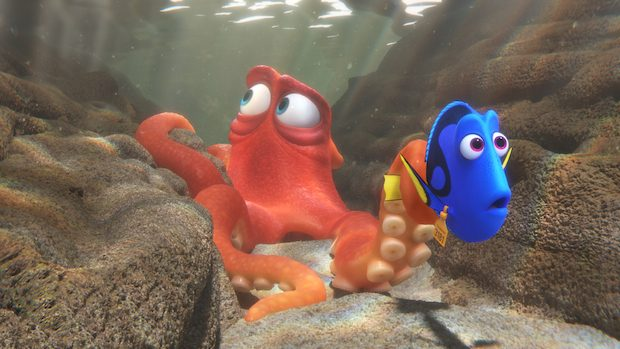 """FINDING DORY – When Dory finds herself in the Marine Life Institute, a rehabilitation center and aquarium, Hank—a cantankerous octopus—is the first to greet her. Featuring Ed O'Neill as the voice of Hank and Ellen DeGeneres as the voice of Dory, """"Finding Dory"""" opens on June 17, 2016. ©2016 Disney•Pixar. All Rights Reserved."""