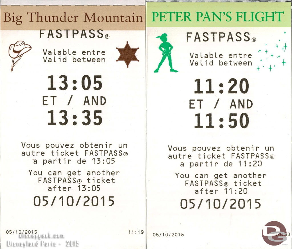 Disneyland Paris FastPasses