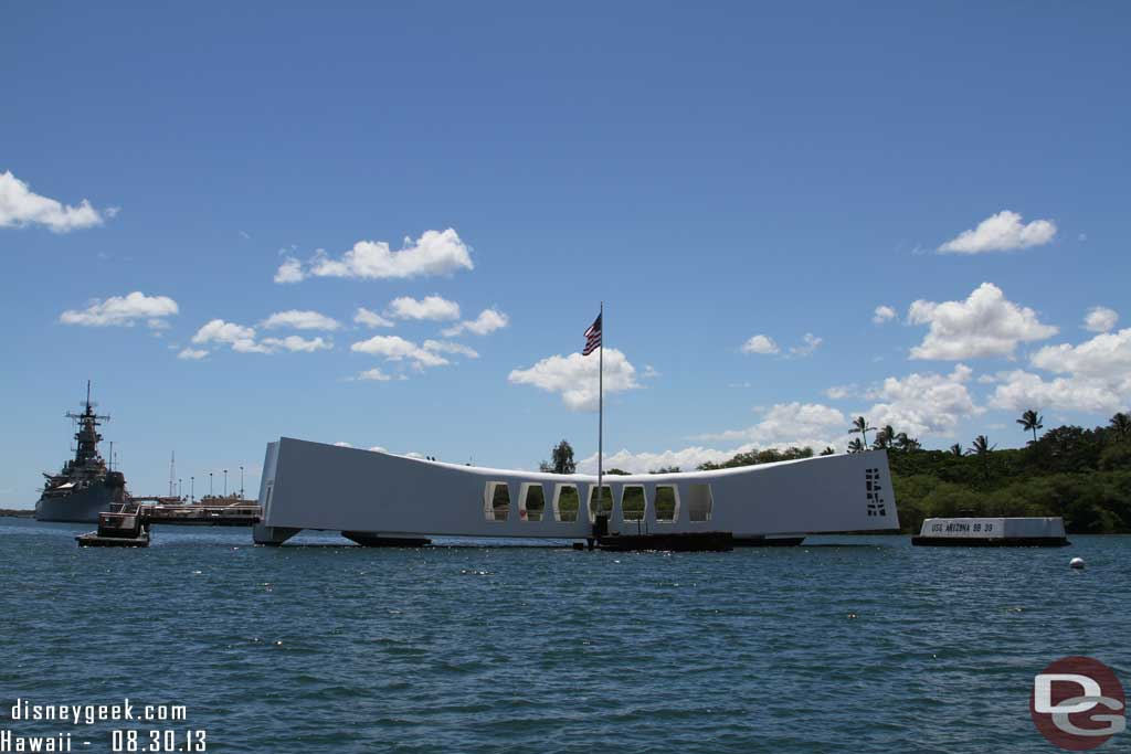 Pearl Harbor Hawaii - USS Arizona Memorial with the USS Missouri beyond it