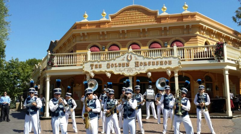 #Disneyland Band performing in front of the Golden Horseshoe in Frontierland