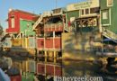Walking by the Pacific Wharf as the sun is setting in Disney California Adventure