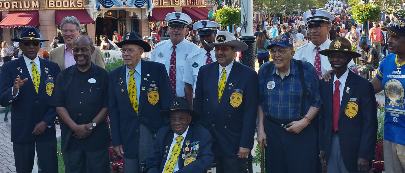 Members of the 9th & 10th Cavalry Buffalo Soldiers Celebrate 150th Anniv @ flag retreat in Town Square