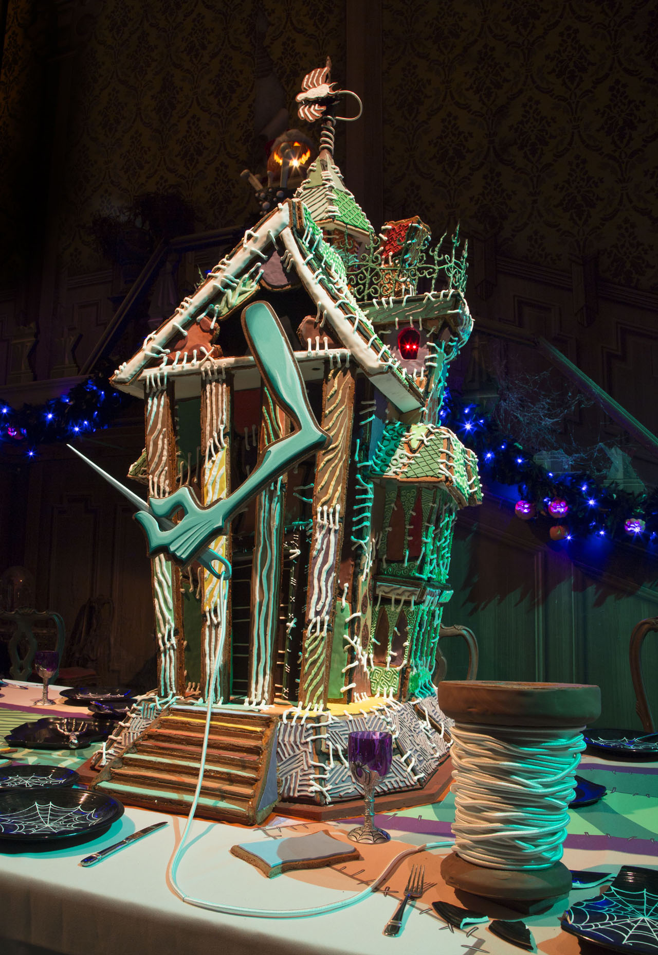 "HAUNTED MANSION HOLIDAY GINGERBREAD HOUSE Ð Now through Jan. 8, 2017, Haunted Mansion Holiday brings the frightfully fun cheer of ÒTim BurtonÕs Nightmare Before Christmas"" to the Disneyland Resort. This yearÕs gingerbread house marks the 15th season of this festive tradition in the mansionÕs ballroom. (Scott Brinegar/Disneyland)"