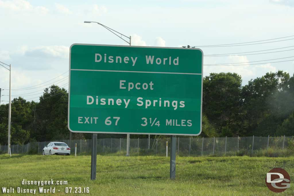 Disney World Exit for Epcot & Disney Springs