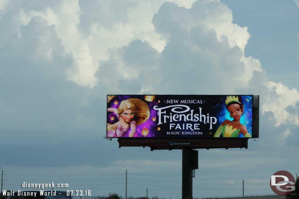 A billboard for the new Makic Kingdom Castle Show - Friendship Faire